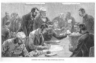Counting the votes at Southwark (Illustrated London News 10 April 1880)