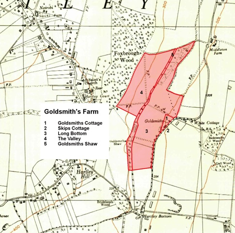 Map of land formerly belonging to Goldsmith's Cottage