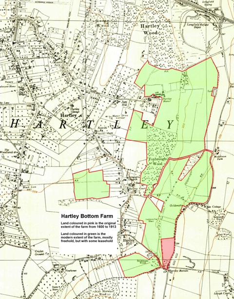 Map of the part of Hartley Bottom Farm lying in Hartley Parish
