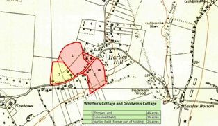 Map showing extent of Whiffins Cottage and Goodwins Cottage holding, Church Road, Hartley, Kent