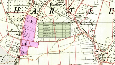 Map of Grubb Street, Hartley, Kent in 1844