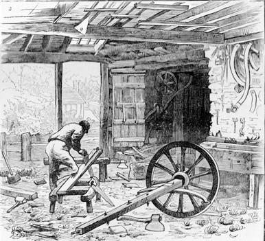 Wheelwright's Shop, Shere, Surrey.  1885