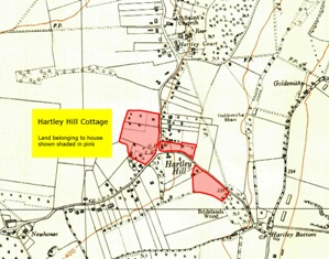 Map showing extent of Hartley Hill Cottage holding, Church Road, Hartley, Kent