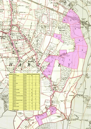 Map of Hartley Manor Farm, Hartley, Kent