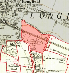 Map showing extent of Hottsfield (coloured pink)