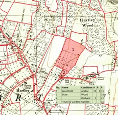 Map of Hartley Wood Corner in 1844 (shaded pink) superimposed on 1936 OS Map