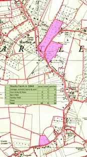 Map of Stocks Farm in 1844 (shaded pink) superimposed on 1936 OS Map