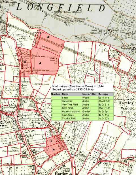 Map of Mintmakers (Blue House Farm) in 1844