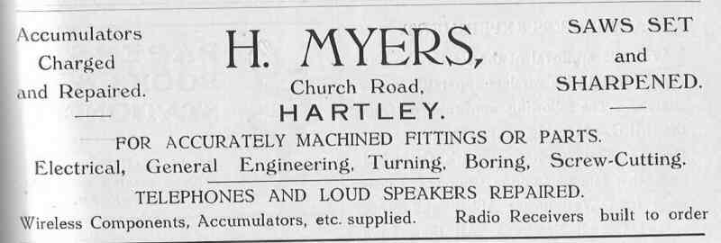 Advert from Hartley Parish Magazine for H Myers, 1928