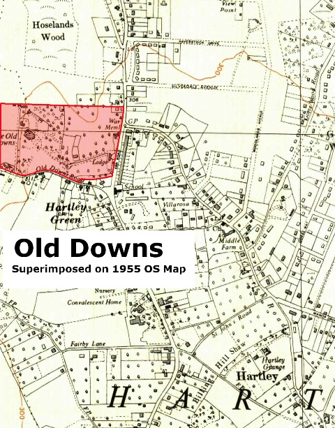 Map of land belonging to Old Downs in 1887