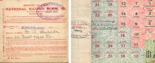 Ration Book 1918, showing front cover and butter coupons inside