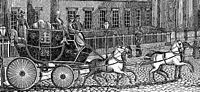 Picture of Post Carriage outside the General Post Office, London (Saturday Magazine, 1832)