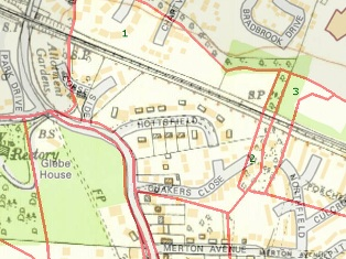 Hartley-Kent: Quakers Close - 1955 map superimposed on modern map