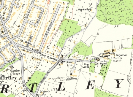 Hartley-Kent:Manor Drive - 1936 map superimposed on modern map