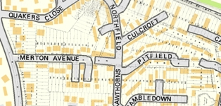Hartley-Kent: Merton Avenue 1908 plan on modern map